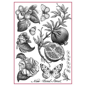 Stamperia Rice Paper A4 Pomegranate Black & White DFSA4302 for Decoupage