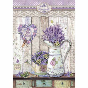 Stamperia Rice Paper A4 Provence Shabby Watering Cans DFSA4365 for Decoupage