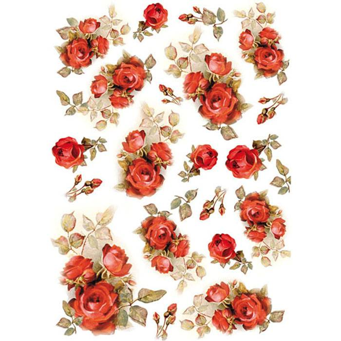 Stamperia Rice Paper A4 Red Roses DFSA4154 for Decoupage -|