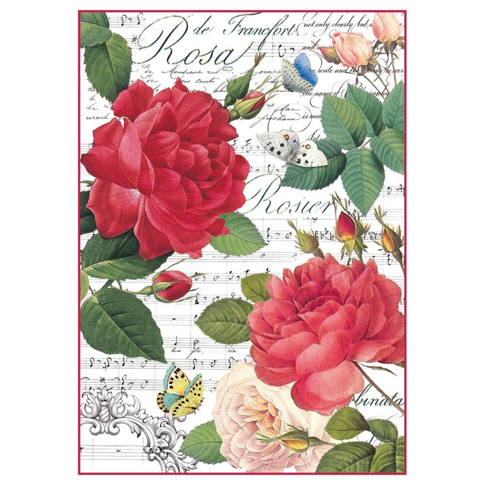 Stamperia Rice Paper A4 Red Roses & Music DFSA4305 for Decoupage
