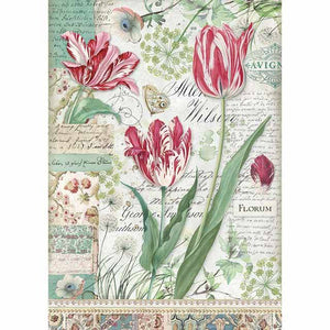 Stamperia Rice Paper A4 Red Tulip DFSA4354 for Decoupage