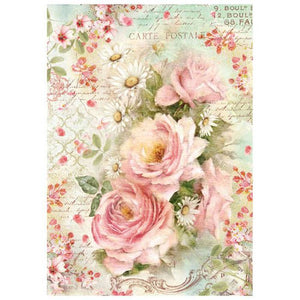 Stamperia Rice Paper A4 Roses & Daisies DFSA4223 for Decoupage