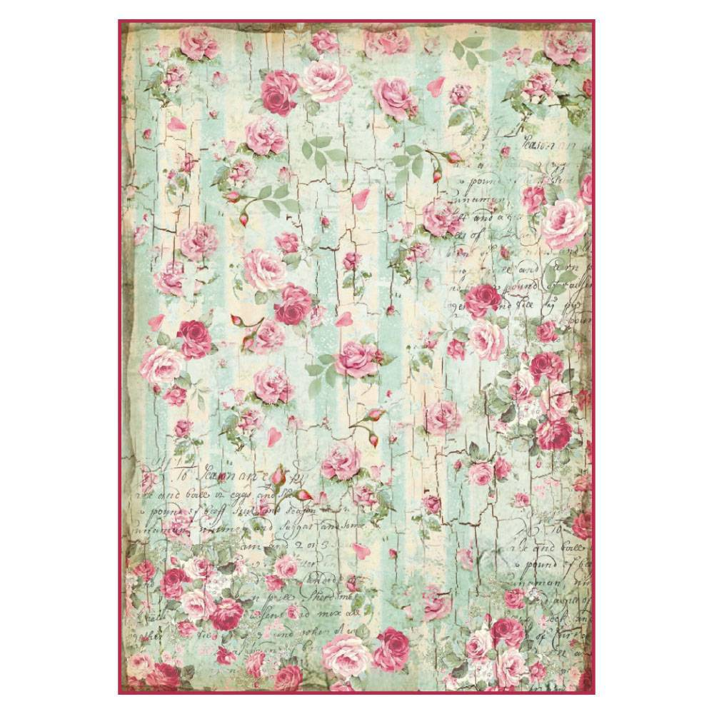 Stamperia Rice Paper A4 Small Roses & Writings Texture DFSA4275 for Decoupage