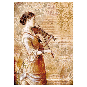 Stamperia Rice Paper A4 Steampunk Woman with Violin DFSA4269 for Decoupage -|
