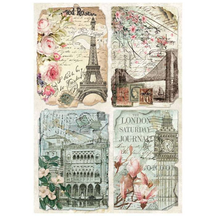 Stamperia Rice Paper A4 Vintage Postcards DFSA4225 for Decoupage