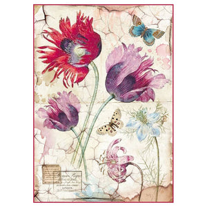 Stamperia Rice Paper A4 Vintage Tulips DFSA4276 for Decoupage -|