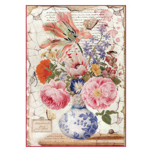 Stamperia Rice Paper A4 Vintage Vase DFSA4277 for Decoupage
