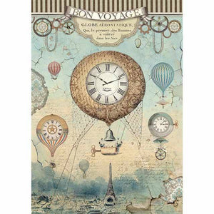 Stamperia Rice Paper A4 Voyages Fantastiques Balloon DFSA4370 for Decoupage