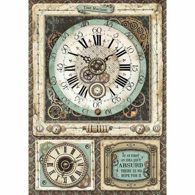 Stamperia Rice Paper A4 Voyages Fantastiques Clock DFSA4367 for Decoupage