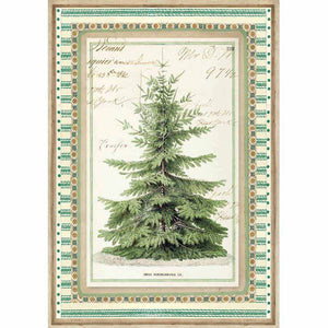 Stamperia Rice Paper A4 Winter Botanic Christmas Tree DFSA4327 for Decoupage