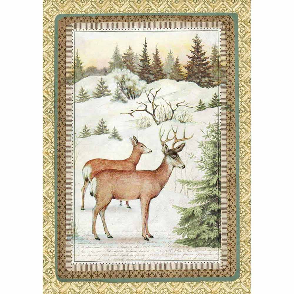 Stamperia Rice Paper A4 Winter Botanic Reindeer DFSA4328 for Decoupage -|
