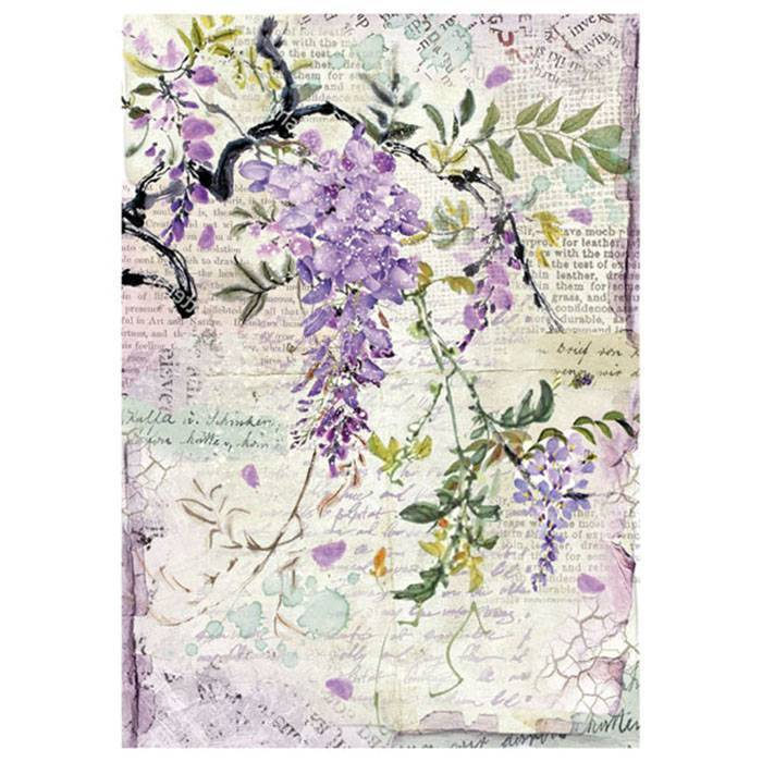 Stamperia Rice Paper A4 Wisteria DFSA4227 for Decoupage