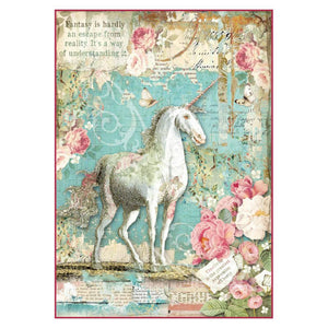 Stamperia Rice Paper A4 Wonderland Unicorn DFSA4271 for Decoupage