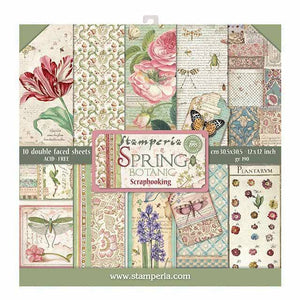 Stamperia Spring Botanic 12x12 Inch Paper Pack SBBL50 for Scrapbooking