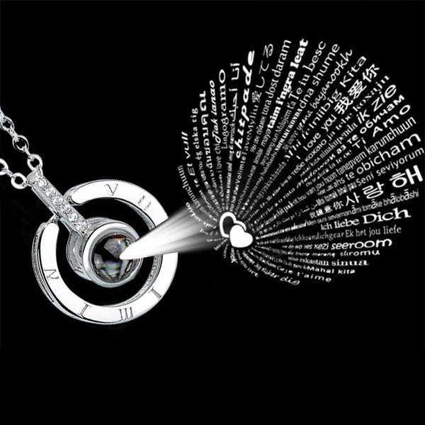 I love you projection necklace in 100 languages;Silver 925 necklace; silver content 92.5%,Global Free Postage
