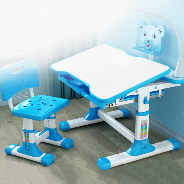 Height Adjustable Children's Desk And Chair Set, Adjustable Table Top, LED Light