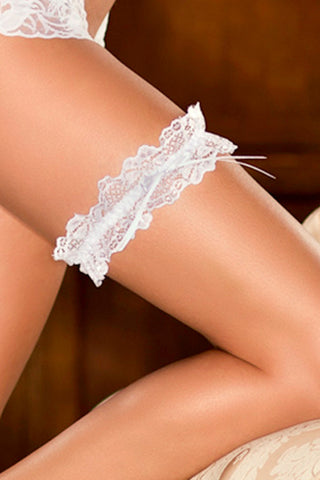 Lace garter with satin bow accent