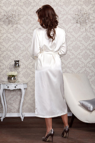 Long Satin Robe with Lace Trim Sleeves
