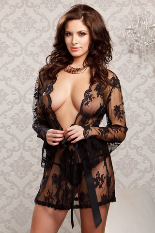 Lace Robe with Satin Belt