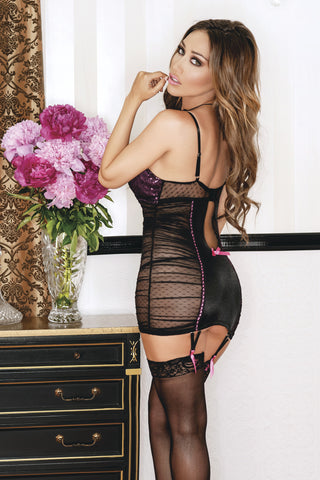 Jacquard Mesh Chemise with G-String