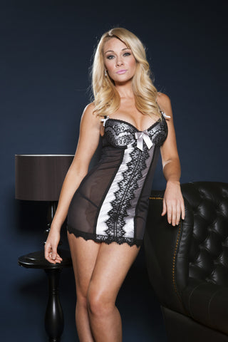 Black Sheer Mesh Chemise with eyelash lace overlay