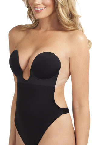 U Plunge Backless Strapless Thong Bodysuit