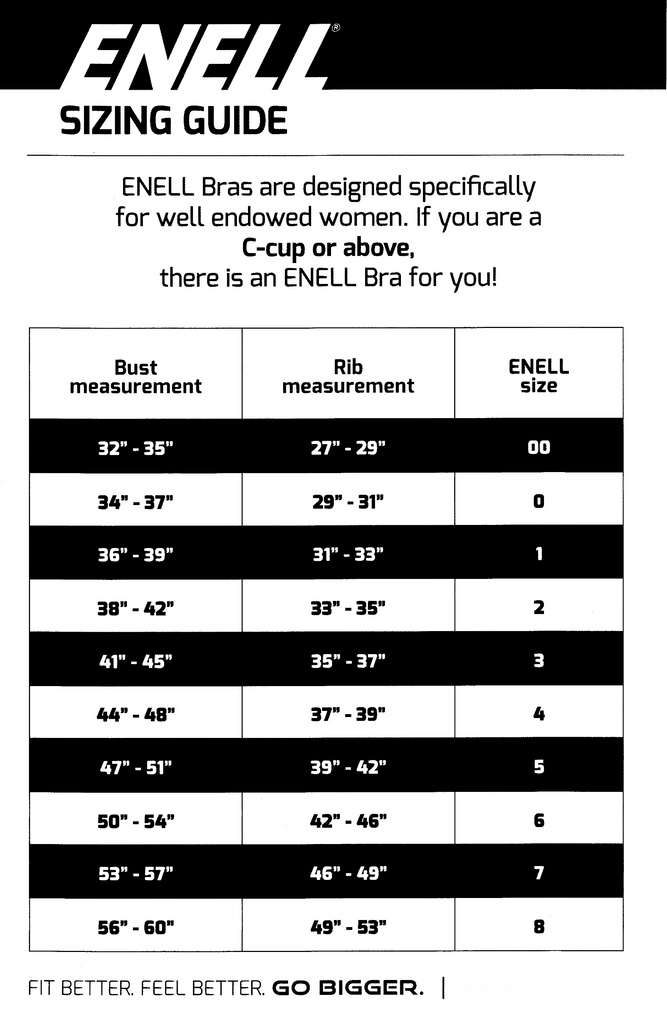 00422902a86 Finding your fit is not always straightforward  so don t fret if ENELL s  standard sizes don t work for you. ENELL can create a custom fit sports bra  to suit ...