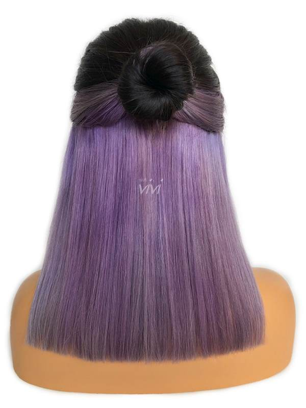 Lavender Blunt Cut Bob Wig With Light Purple Hair Color Underneath
