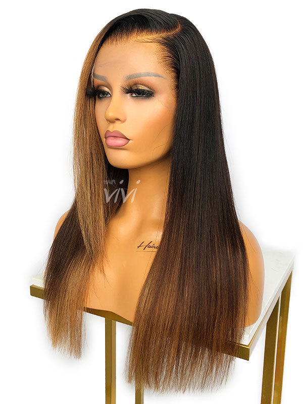 Fawn Side Part Wig Brown Ombre With Highlights HD Lace