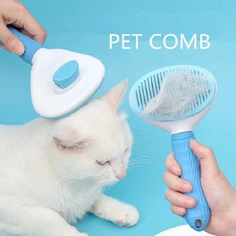 One-button hair removal pet comb