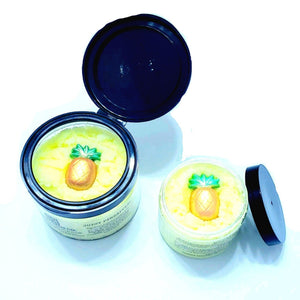 Mouthwatering Pineapple Emulsified Sugar Body Scrub polishes hydrates and nourishes your skin with Grape Seed Oil and rich Cocoa Butter. Adorned with a mini Pineapple 3 Butter Blend soap embellishment.