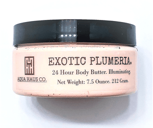 Close up of Exotic Plumeria 24 Hour Body Butter Illuminating.  Emulsified with Cocoa and Shorea Butter and Coconut, Rice Bran and Grape Seed Oils to properly absorb into your skin as this is an Emulsified formula.