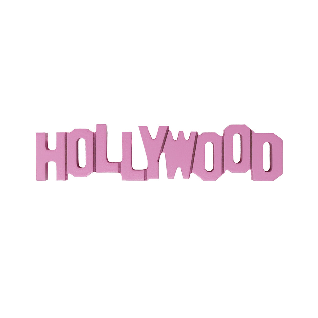 Hollywood Sign Replica - Wood (8 Inch, Pink)