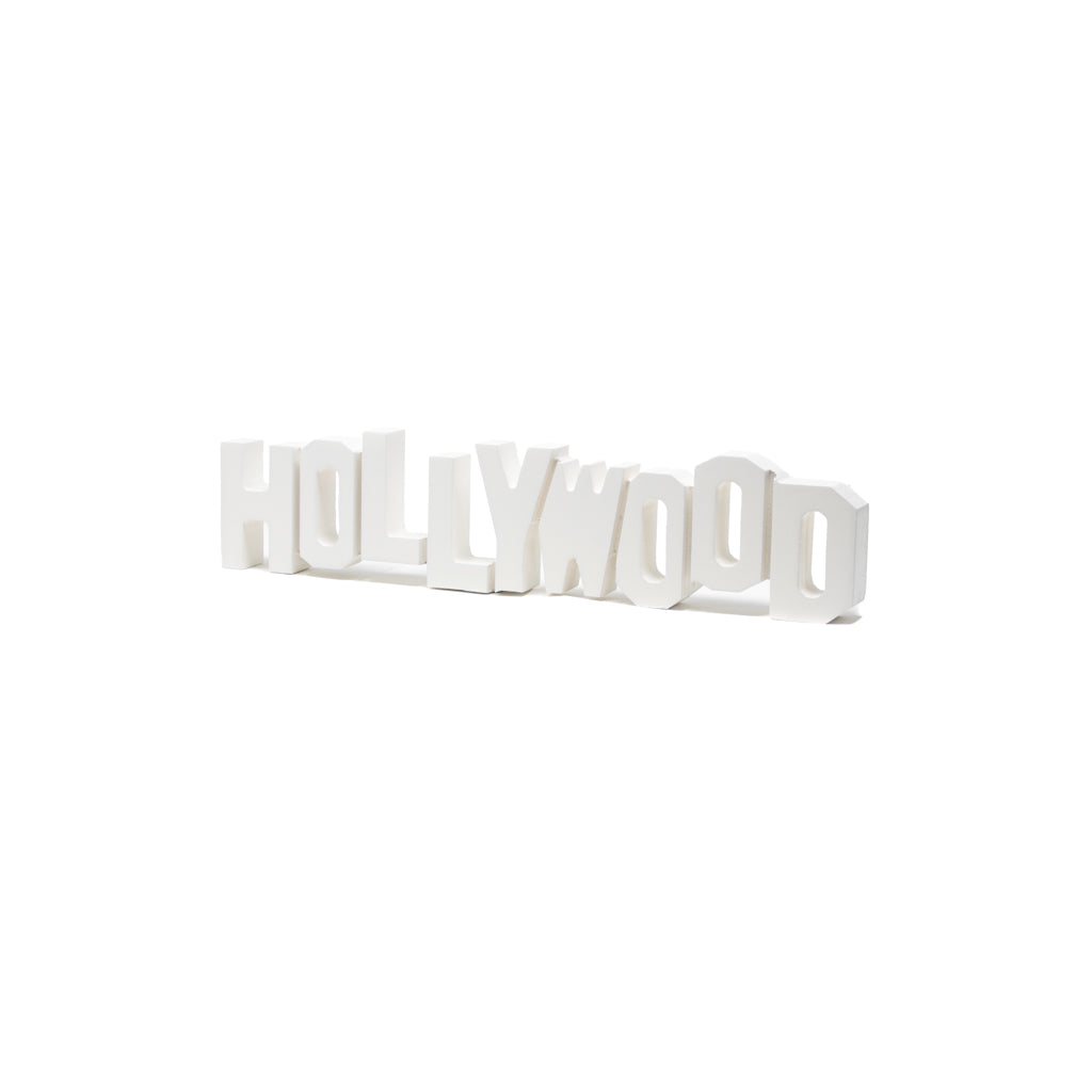 Hollywood Sign Replica - Wood (8 Inch, White)