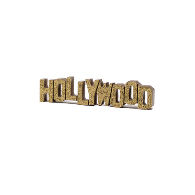 Hollywood Sign Replica - Wood (8 Inch, Gold w/ Glitter)