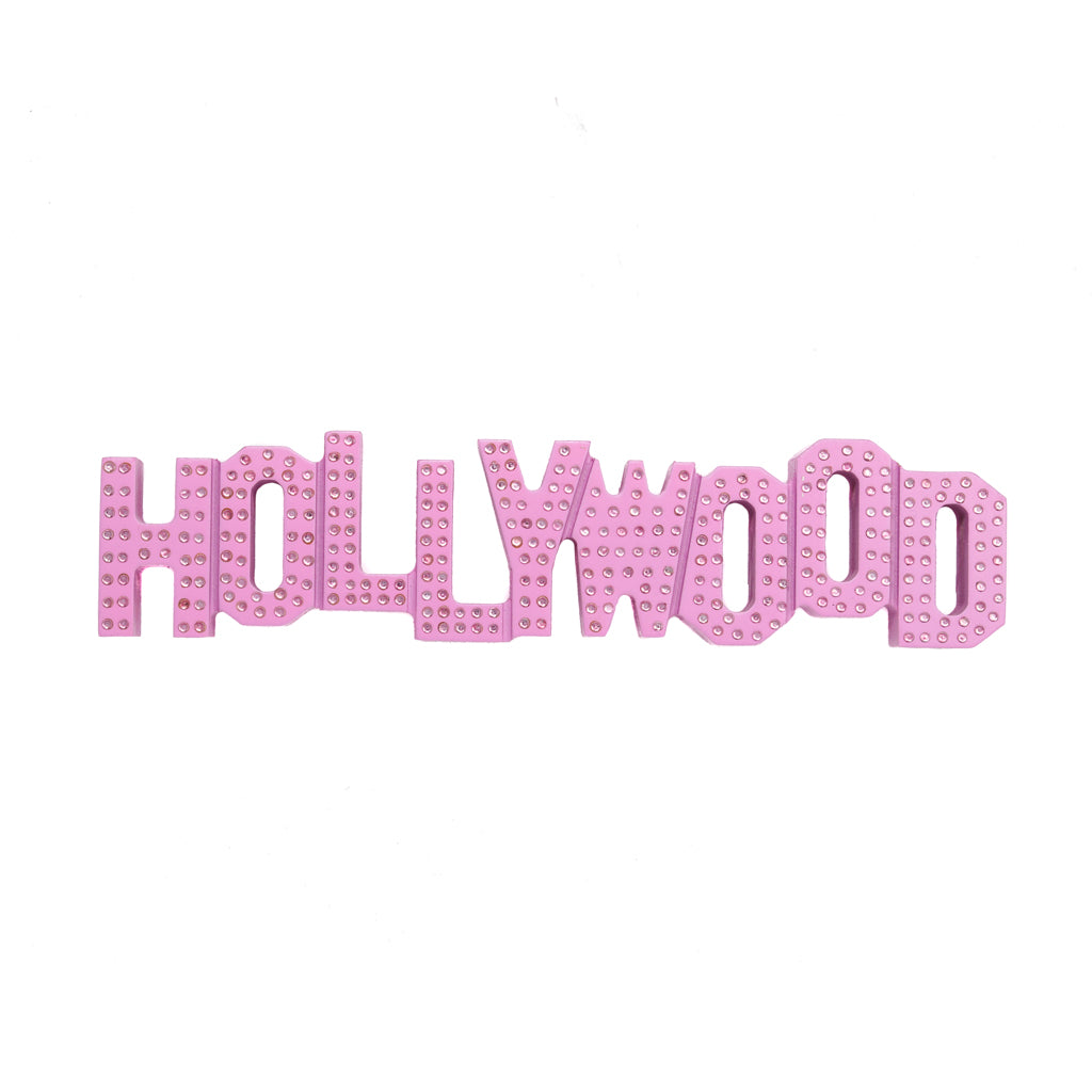 Hollywood Sign Replica - Wood (8 Inch, Pink w/Rhinestones)