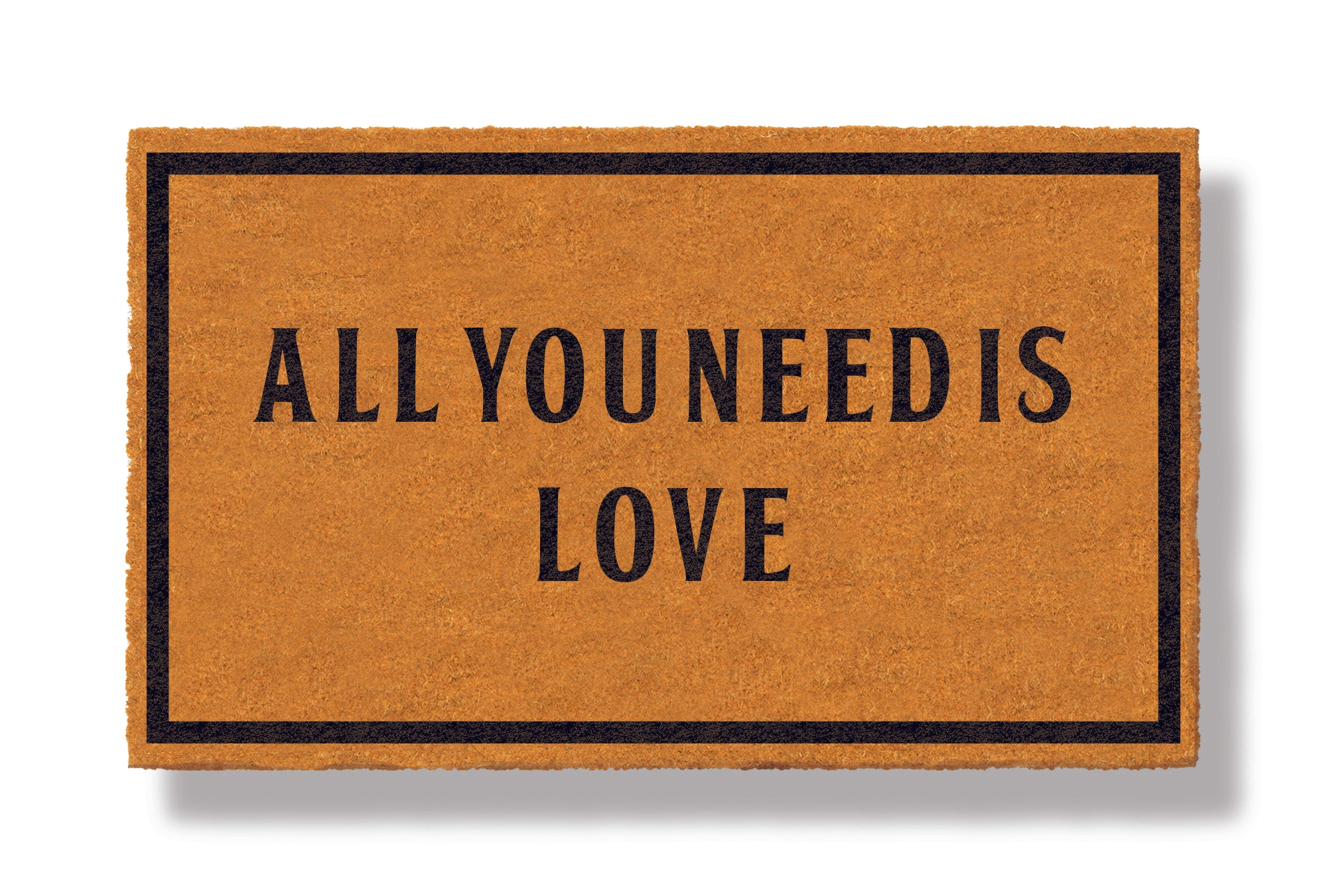 This coir welcome mat is a funny doormat on a white background with a drop shadow. The brown doormat has a black border and has black centered text that reads All You Need Is Love.