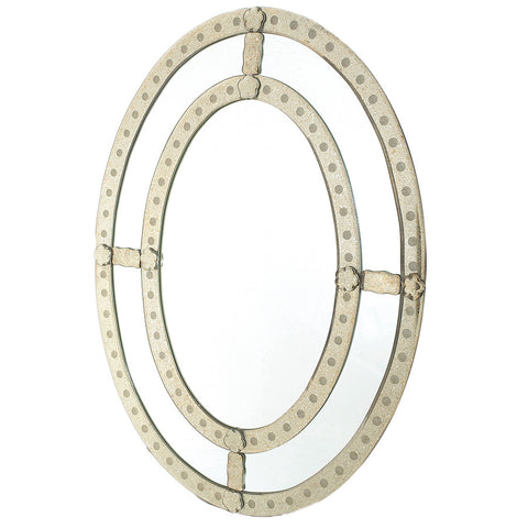 Oval Antique-Trimmed Mirror