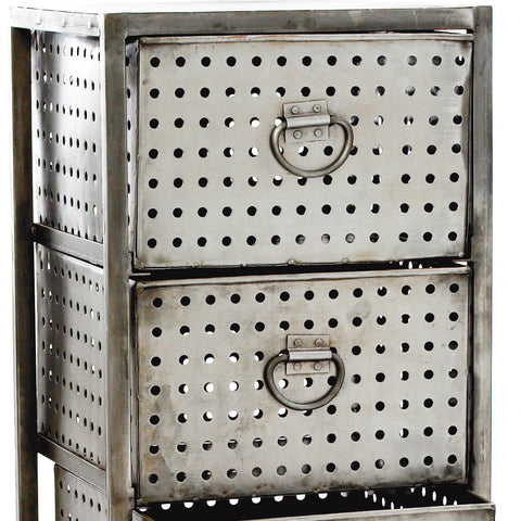 Aged Industrial Steel Drawers, 4 Drawer