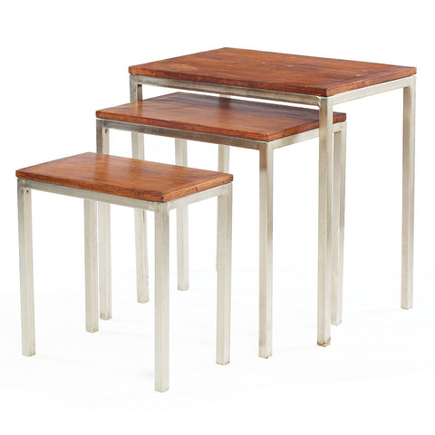 Nickel & Wood Nesting Tables (Set of 3)