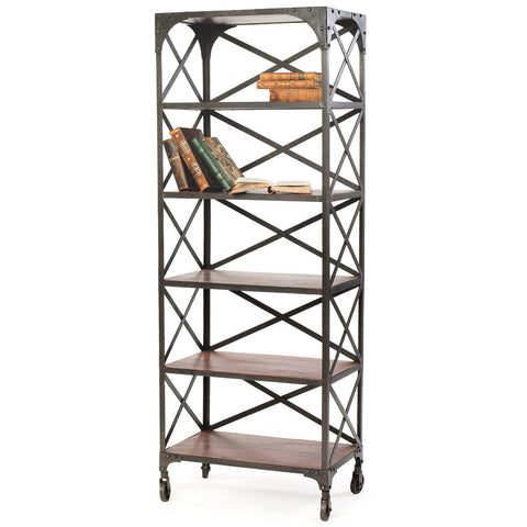 Industrial Wood & Steel Bookshelf