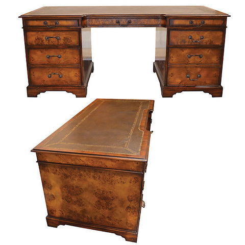 Polished Burl Wood Desk