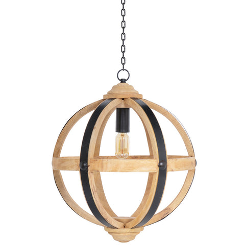 Wood Orb Chandelier