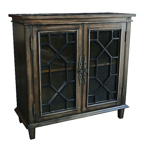 Antiqued Wood 2 Door Storage Cabinet