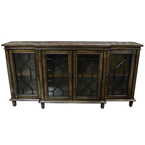 Antiqued Wood 4 Door Credenza