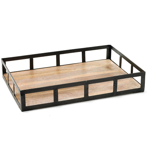 Black Iron & Wood Serving Tray