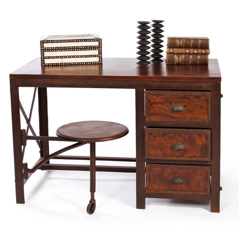 """Studious Beauty"" Compact Wood & Metal Desk"