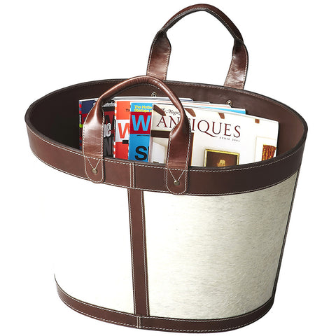 White Hair-On-Hide Magazine Basket