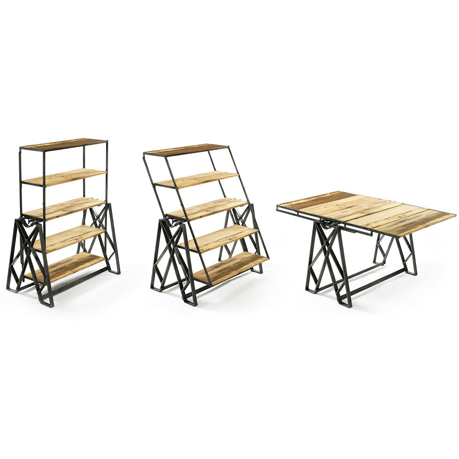collapsible dining room tables | 2-in-1 Folding Bookshelf & Dining Room Table