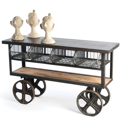 Wood & Steel Factory Cart Console